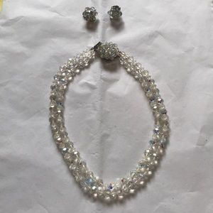 Clear beaded necklace AND matching earrings